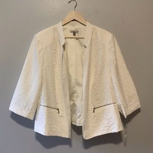 White Dressbarn 2x Open Front Blazer Zipper pocket